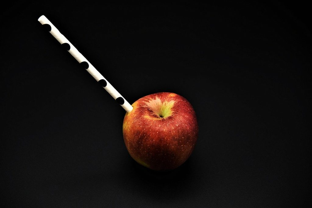 Drinking Straw Apple Fruit Health
